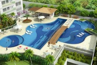 Perspectiva aérea da piscina do Diamond Alto do Itaigara