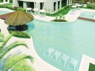Perspectiva da piscina, Manhatan Square Home.