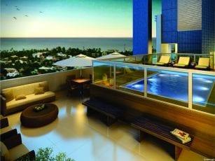 Perspectiva da piscina da penthouse do Greenville Etco