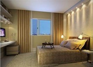 Perspectiva da suíte do apartamento com 130m² de área privativa