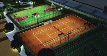Perspectiva das quadras poliesportiva e de tênis