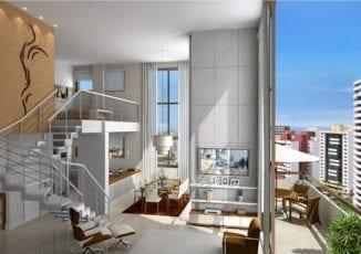 Perspectiva do apartamento 1405 - Loft do Ícone Aquarius