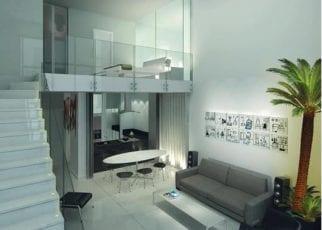 Perspectiva do apartamento do Ícone Aquarius