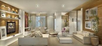 Perspectiva do apartamento de 151,65m2 com living ampliado