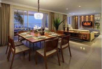 Perspectiva do Living do apartamento com 130m² de área privativa