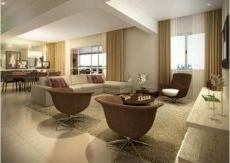 Perspectiva do Living do apartamento com 172m² de área privativa