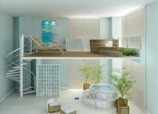 Perspectiva do SPA com sala de massagem e shiatsu, Ofurô e Hidromassagem