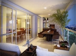 Perspectiva do terraço do apartamento com 130m² de área privativa
