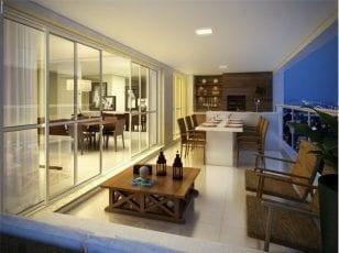 Perspectiva do terraço do apartamento com 172m² de área privativa