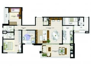 Planta Baixa - 130m2 – 3 quartos com dependência
