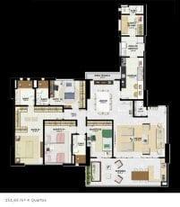 Planta baixa 151,65m2, 4 quartos