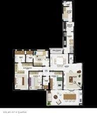 Planta baixa 151,65m2, 4 quartos - tipo 2