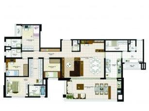 Planta Baixa - 172m2 – 4 quartos com dependência