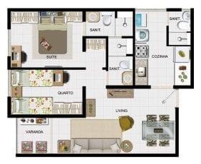 Planta baixa 2 quartos com suite, banheiro de servico e varanda