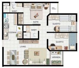 Planta baixa 3 quartos com suite e 58,5m2 de área privativa.