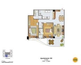 Planta Baixa - apartamento 105 - 2 suítes, linear - 2 vagas