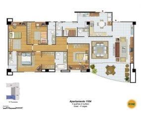 Planta Baixa - apartamento 1104 - 4 quartos (2 suítes), linear - 4 vagas