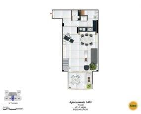 Planta Baixa - apartamento 1403 - 1 suíte, loft - 2 vagas - Piso Inferior
