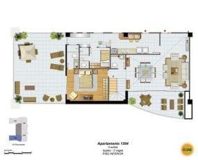 Planta Baixa - apartamento 1404 - 3 suítes, duplex - 3 vagas - Piso Inferior