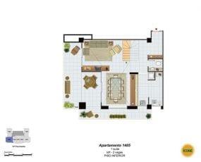 Planta Baixa - apartamento 1405 - 1 suíte, loft - 2 vagas - Piso Inferior