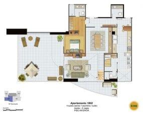 Planta Baixa - apartamento 1802 - 4 suítes, sendo 1 escritório, suíte, duplex - 4 vagas - Piso Inferior