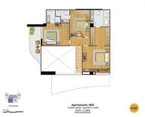 Planta Baixa - apartamento 1802 - 4 suítes, sendo 1 escritório, suíte, duplex - 4 vagas - Piso Superior