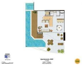 Planta Baixa - apartamento 2602 - 4 suítes, triplex - 6 vagas - Piso Superior