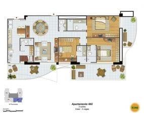 Planta Baixa - apartamento 602 - 3 suítes, linear - 3 vagas