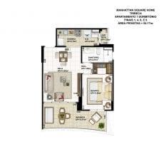 Planta baixa do apartamento de 1 quarto, FINAIS 1, 4, 6 e 9, com 54,17m2 - planta 02 - TRIBECA
