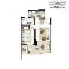 Planta baixa do apartamento de 1 quarto, FINAIS 2, 3, 7 e 8, com 54,49m2 - planta 01 - TRIBECA