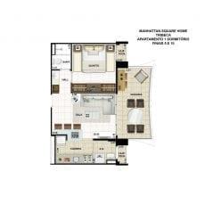 Planta baixa do apartamento de 1 quarto, FINAIS 5 e 10, com 54,17m2 - planta 04 - TRIBECA