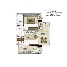 Planta baixa do apartamento de 1 quarto, FINAIS 5 e 10, com 56,27m2 - planta 03 - TRIBECA