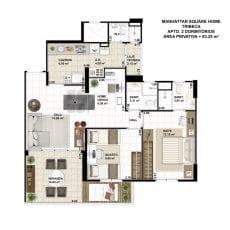 Planta baixa do apartamento de 2 quartos com 83,25m2 - planta 07 - TRIBECA