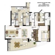 Planta baixa do apartamento de 3 quartos com 113m2 - planta 05 - SOHO