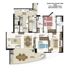 Planta baixa do apartamento de 3 quartos com 113m2 - planta 06 - SOHO