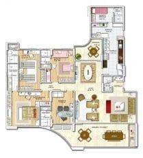 Panta baixa, apartamento -Tipo - Opção 03