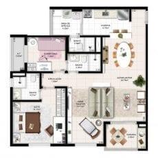 Planta baixa tipo 87m² ampliada cozinha aberta