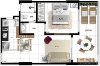 Planta baixa quarto e sala ou 1 quarto.
