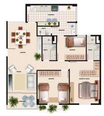 Planta baixa do apartamento tipo 3 quartos