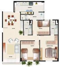 Planta baixa do apartamento cobertura com 3 quartos