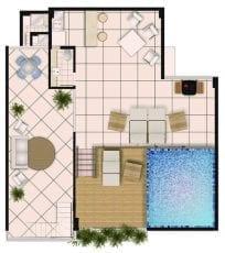 Planta baixa do apartamento cobertura com 3 quartos, piso superior