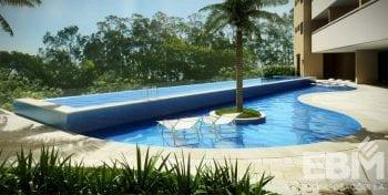 Perspectiva da área externa da piscina