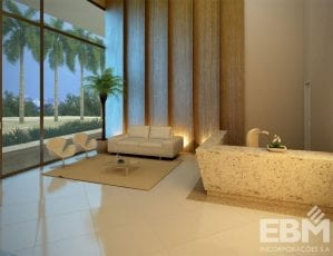 Perspectiva do lobby residencial