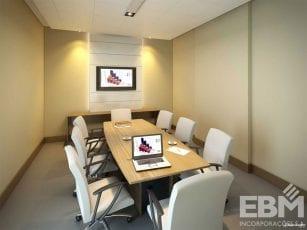 Perspectiva da área interna da sala de reunião