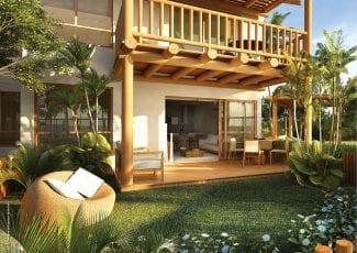 Perspectiva do bangalô 3 quartos. Casas à venda em condomínio em Itacimirim.
