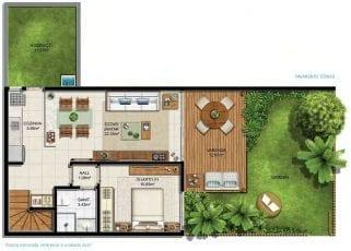 Planta baixa do bangalô de 126 a 141m2 com gardens de 21 a 34m2 - Pavimento Térreo