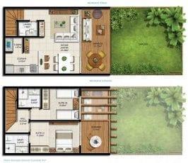 Planta baixa do bangalô de 93 a 95m2 com gardens de 16 a 68m2