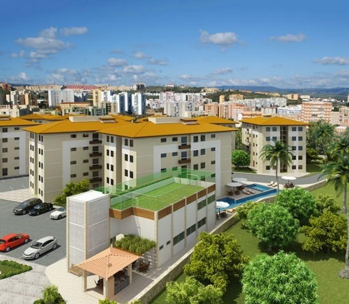 Perspectiva Aérea da Fachada do condomínio Reservas do Picuaia