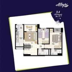 Planta baixa do apartamento 2 quartos - Tipo B