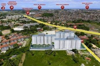 Perspectiva da Implantação 3D, com vista aérea do Spazio Salvador Norte